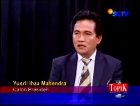 """Yusril Ihza Mahendra pada Acara """"Mencari Presiden Alternatif"""" di SCTV"""
